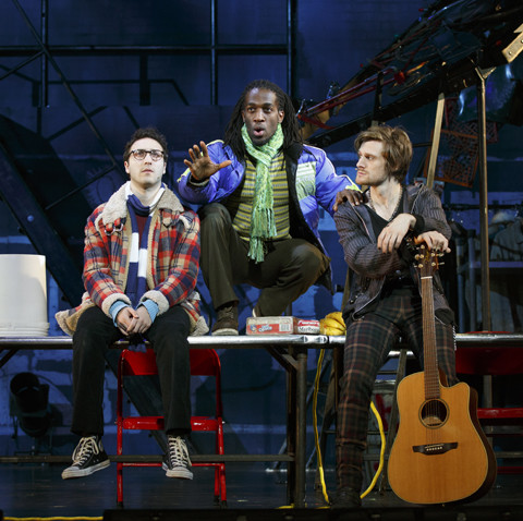 (L to R) Sammy Ferber, Marcus John, Kaleb Wells - RENT 20th Anniversary Tour, Credit Carol Rosegg, 2017